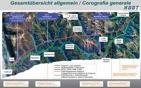 bbt Uebersicht Galleria di base del Brennero, 56 km con 400 treni al giorno.