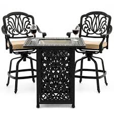 Patio Furniture Counter Height Table Sets - rosedown 3 piece cast aluminum patio counter height fire table bar