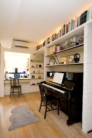 Open Home Office Floating Shelves Above Desk Home Office Contemporary With Sliding