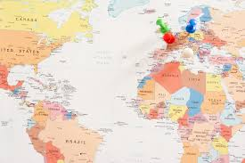 Colored World Map by Image Of Map Of The World With Pins In Europe Locations Freebie