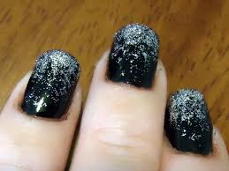 black and silver gradient glitter nail tutorial youtube