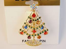 gold christmas tree brooch pin u0026 star red green blue purple topaz