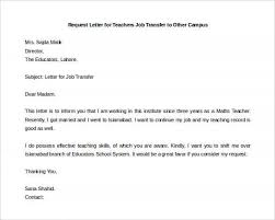 On Campus Job Resume by Sample Teacher S Letter Request For Transfer To Another