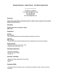 Sample Objectives In Resume For It by Resume For High Students With No Experience Sample Resumes