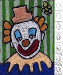 art projects for kids how to draw a clown oil pastel projects