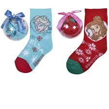 girls christmas disney princess or frozen socks in bauble