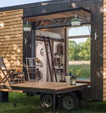 patio garage doors tricked out tiny home features garage door and custom deck curbed