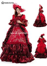 18th Century Halloween Costumes Red Floral Marie Antoinette Wedding Dress 17th 18th