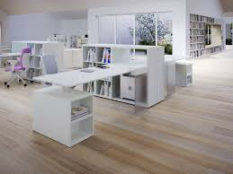 minimalist desk along with white lacquered desk and cabinet also