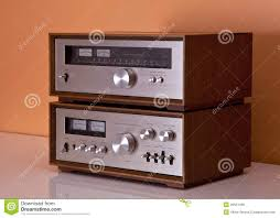 vintage stereo tuner in wooden cabinet royalty free stock photo