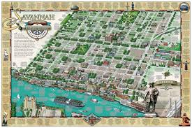 G Map Savannah Historic District Illustrated Map Michael Karpovage