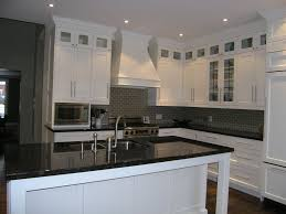 Kitchen Cabinet Glass Transitional Kitchen With Stacked Upper Cabinets Glass Inserts
