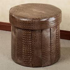 almas animal print faux leather round folding storage ottoman