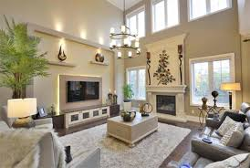 view high ceiling family room interior design for home remodeling