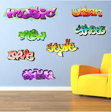 v c designs ltd tm regular full colour graffiti wall sticker graffiti words teen kids childrens wall art sticker each word approx 37cm w