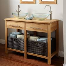 Bathroom Vanity Designs by Bathroom Brown Wooden Open Shelf Vanity With Black Rattan Basket