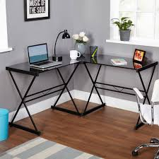 Buddy Home Furniture Atrium Metal And Glass L Shaped Computer Desk Multiple Colors