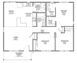floor plan for affordable 1100 sf house with 3 bedrooms and 2