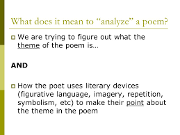 Poetry Analysis Essay  What does it mean to    analyze    a poem     SlidePlayer