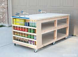 Plans For Building A Wooden Workbench by How To Build A Diy Mobile Workbench With Shelves