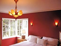 red bedroom design with white accent
