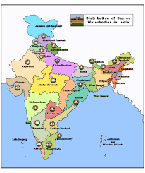 Ancient India Map by Sacred Waterbodies