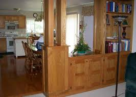 decor wooden half wall room divider with bookshelves and dining