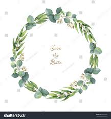 Awards And Decorations Branch by Watercolor Hand Painted Round Wreath Eucalyptus Stock Illustration