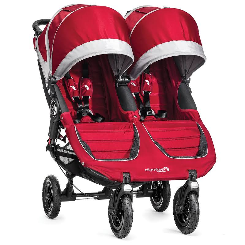 Baby Jogger City Mini Gt Double Stroller With All Terrain Wheels, Crimson/gray