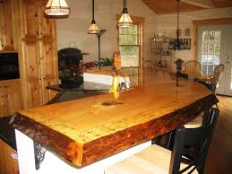 rustic cabin kitchen design tile floor black cushion vintage brown
