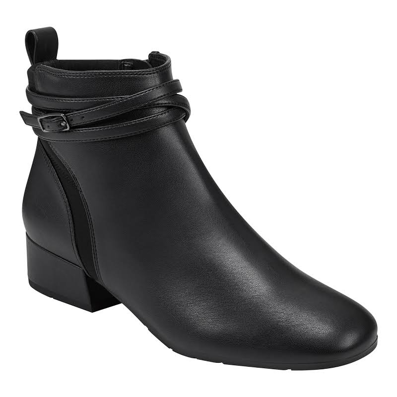 Easy Spirit Dae 3 Faux Leather Ankle Boots Black 8.5 Medium (B,M)