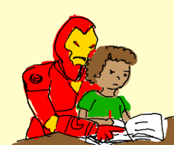 Ironman helping son with science project