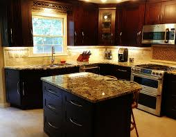 Maple Shaker Style Kitchen Cabinets Beautiful Mocha Maple Shaker Cabinets And Exotic Normandy Granite