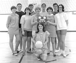 Carla Wagner (\u0026#39;68) is holding the volleyball. She later returned to Oak Park as a teacher. (Mark Murtha) Back Row: Ed Jarboe, David Arthur, me, ... - 1967-1968-Volleyball-01