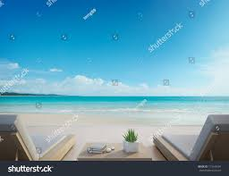 Luxury Beach Chair Sea View Terrace Beds Modern Luxury Stock Illustration 713149234