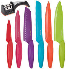 Kitchen Knives Online by Amazon Com Stainless Steel Kitchen Knife Set Bonus Sharpener