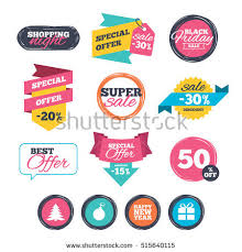 black friday christmas tree deals round stickers website banners sale icons stock vector 521755384
