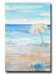 original art abstract painting beach umbrella sea blue home wall