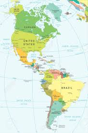 N America Map by North And South America Map Illustration Colored And Grid