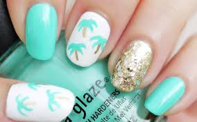 easy palm tree nail art using a toothpick youtube