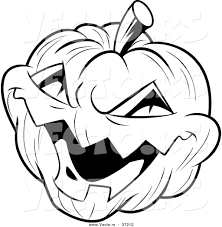 halloween vector art vector of a laughing evil jack o lantern black and white