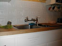 decor u0026 tips chic white tin backsplash design with kitchen sink