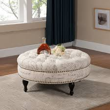 round tufted storage ottoman coffee table starrkingschool oversized leather ottoman coffee table blue tufted