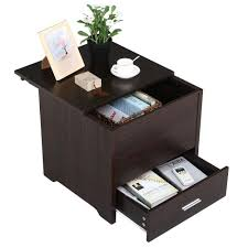 nightstands amazon com yaheetech wood bedside table cabinet with storage drawer and sliding top sofa side end table bedroom