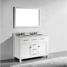 55 Inch Double Sink Bathroom Vanity by 48 Inch White Finish Solid Wood Double Sink Bathroom Vanity With