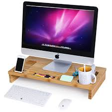 Desk Organization Accessories by Amazon Com Songmics Bamboo Monitor Stand Riser With Storage