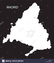 Madrid Spain Map by Madrid Spain Map Black Inverted Silhouette Illustration Stock