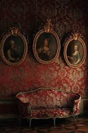 dark gothic victorian house interior with red wallpaper