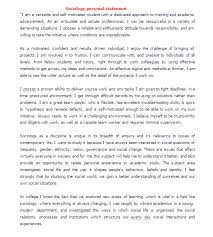 Initial Personal Statement Sociology personal statement