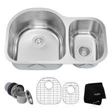 KRAUS Undermount Stainless Steel  In Double Basin Kitchen Sink - Kitchen sink plumbing kit